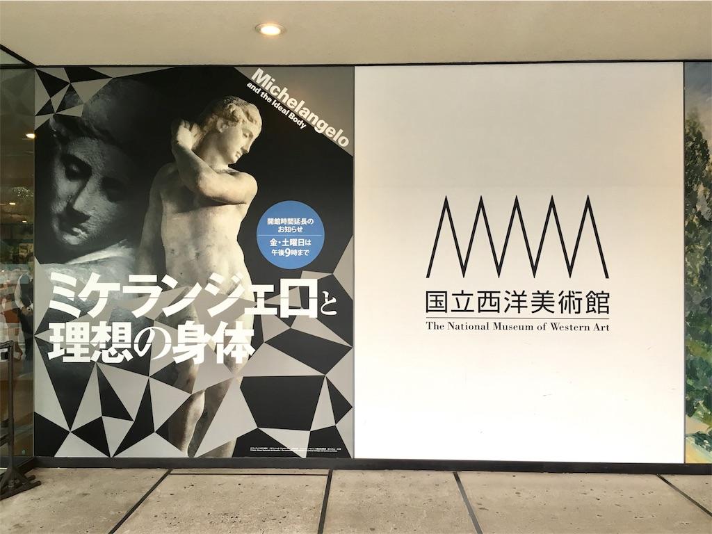 国立西洋美術館で開催中のミケランジェロと理想の身体の看板
