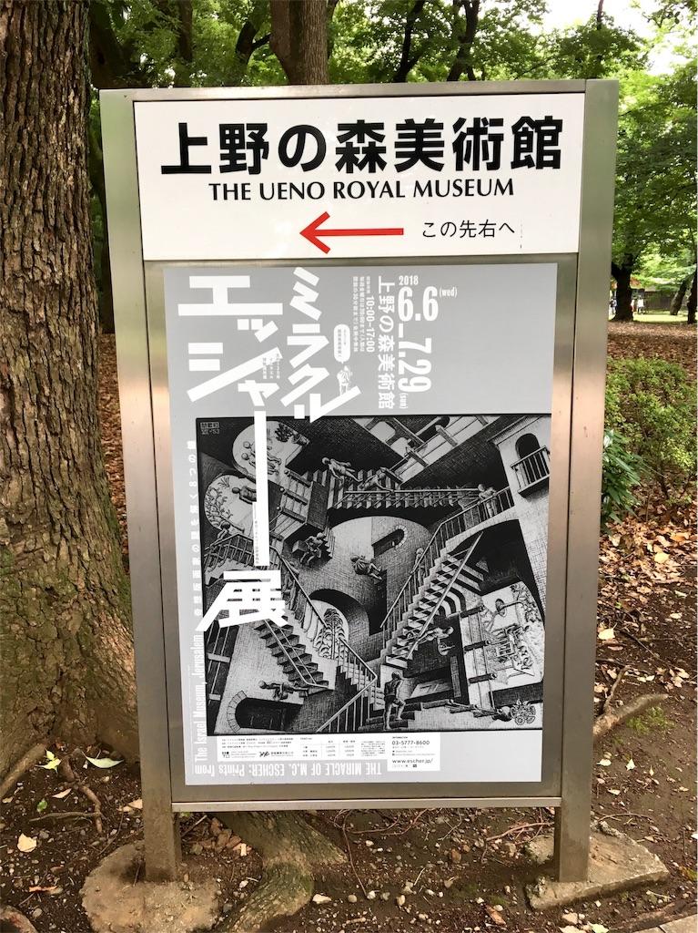 上野の森美術館のミラクルエッシャー展の看板