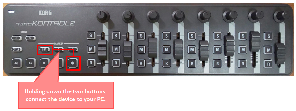 「nanoKontrol2」を「SONER」向けのMCモードにする
