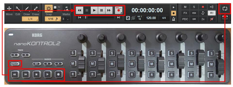 「nanoKontrol2」と「Cakewalk by Bandlab」のMCモードでのボタンの対応