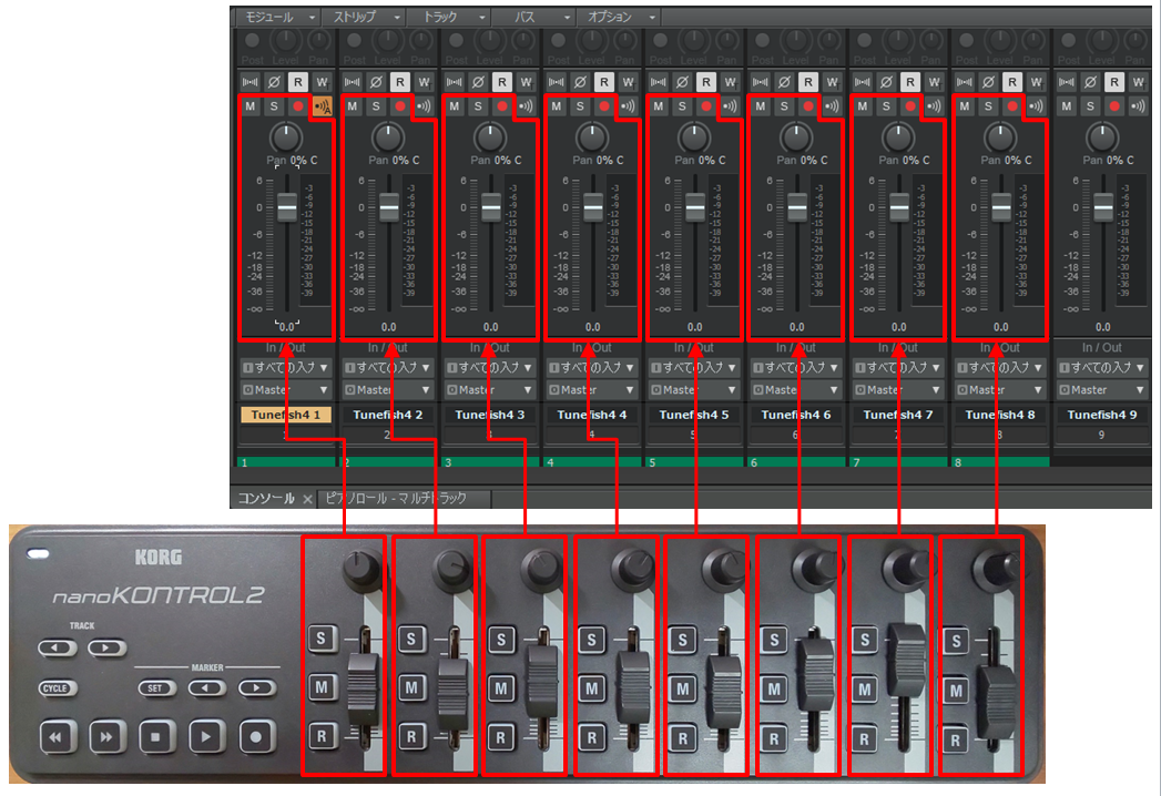 「nanoKontrol2」と「Cakewalk by Bandlab」のMCモードでのボタンの対応(スライダー)