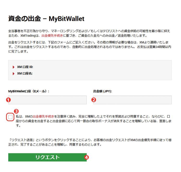 XM bitwallet(ビットウォレット)での出金方法