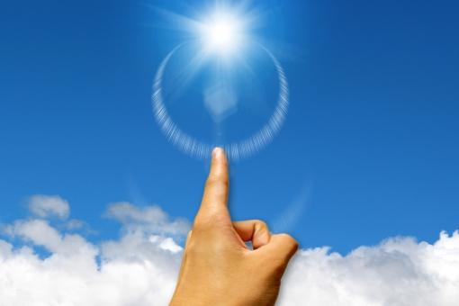 光を指す指