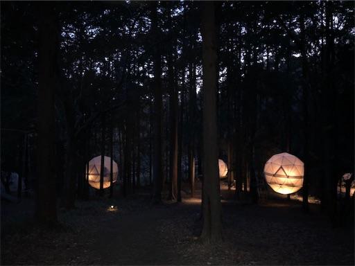 INNTHEPARK(インザパーク)の夜の吊りテント
