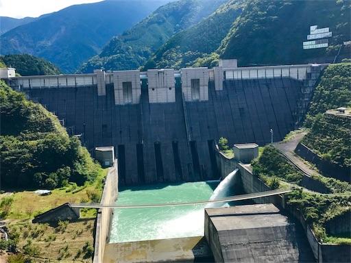 トロッコ列車からみた長島ダム