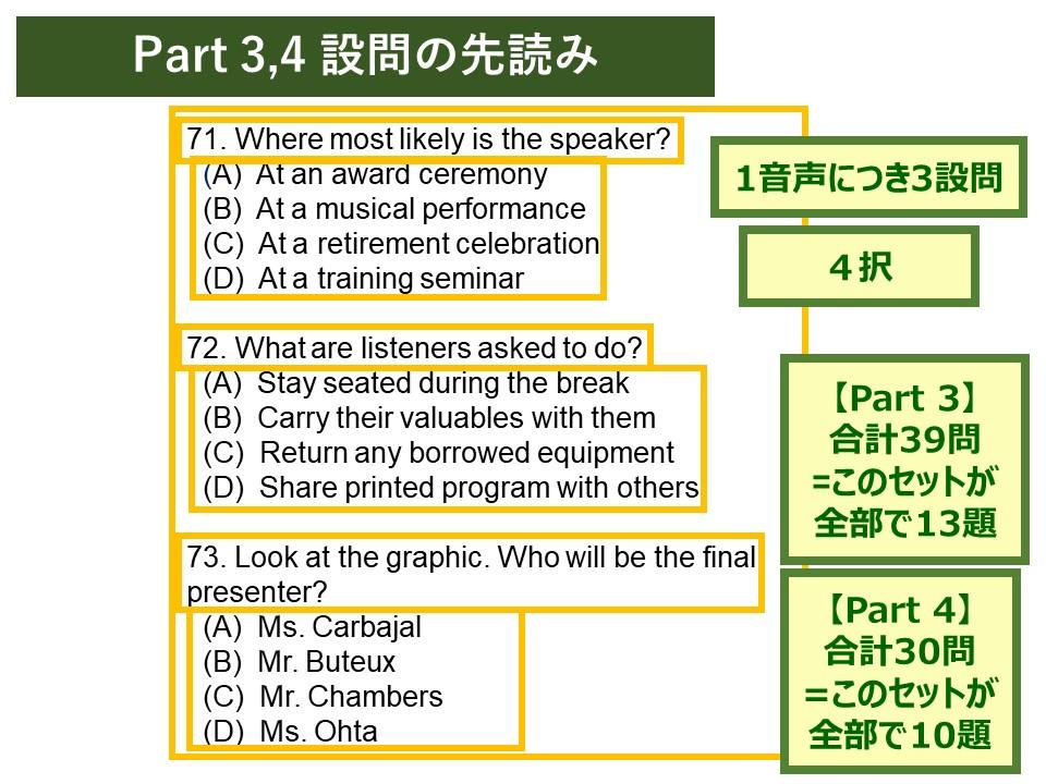 TOEICのPART3、PART4の先読みの問題例