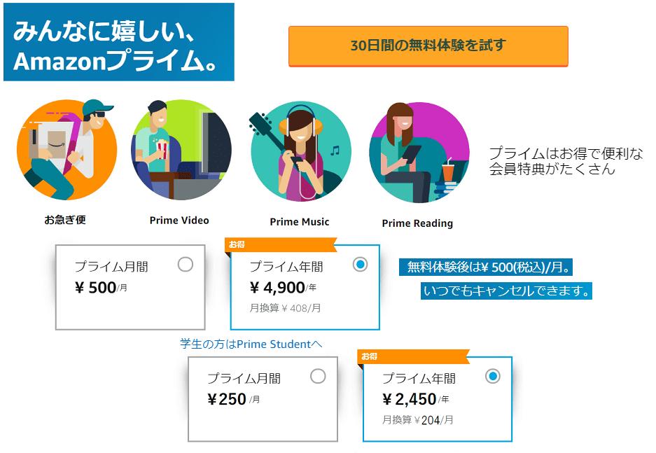 amazon prime 30日間無料