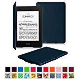 Fintie Amazon NEW-Kindle Paperwhite (2015) と Kindle Paperwhite (第6世代) カバー 最も薄く、最軽量の保護 レザー ケース マグネット機能搭載【Kindle Paperwhite All Generation専用】(ネイビー)