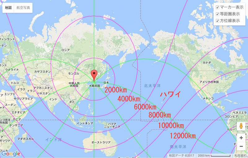 【地図】 Googleマップ(メルカトル図法)で、北朝鮮のミサイル ...