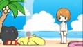 [anime][うーさーのその日暮ら][うーさー水着][白水着][絆創膏][ジト目]