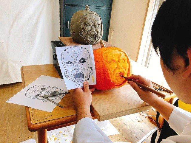 間桐臓硯パンプキンの制作風景
