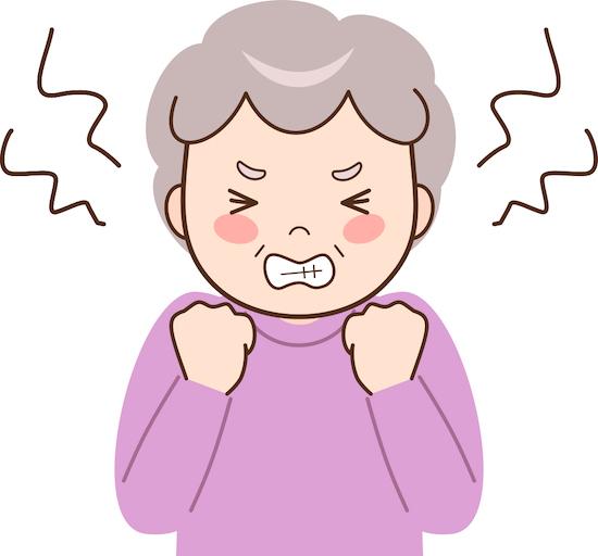 怒っている高齢女性のイラスト