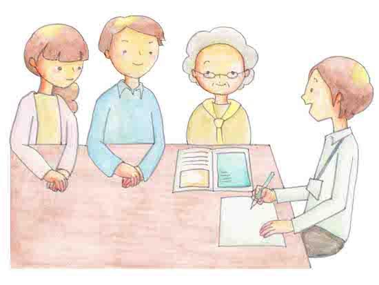 ケアマネジャーと説明を受ける家族のイラスト