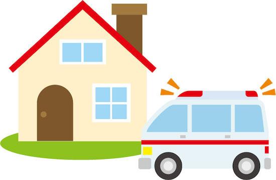 家と救急車のイラスト