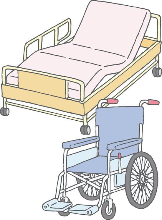 介護ベッドと車いすのイラスト