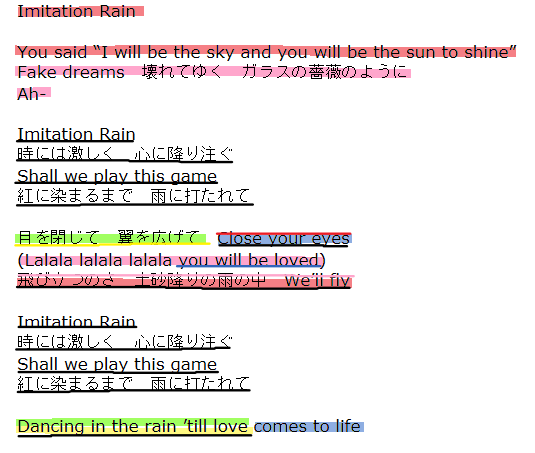 Sixtones imitation rain 歌詞