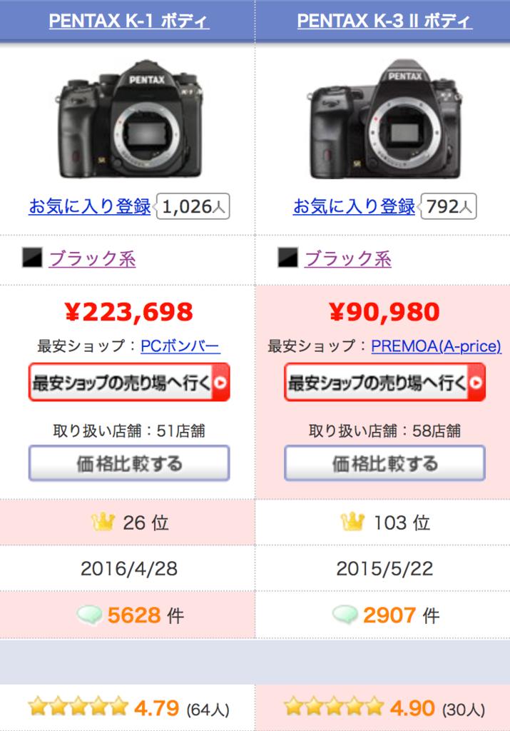 f:id:photographerti:ペンタックスK-1とK-3の比較