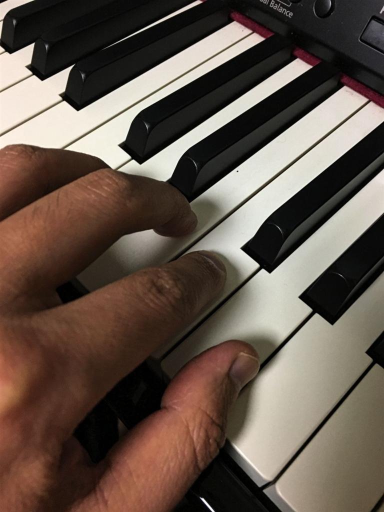 鍵盤に指を全て置いた状態