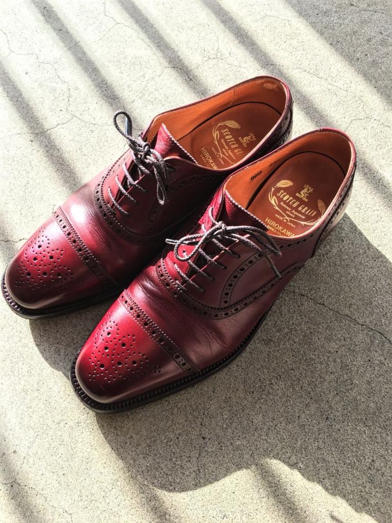 磨いた後のスコッチグレインの靴1