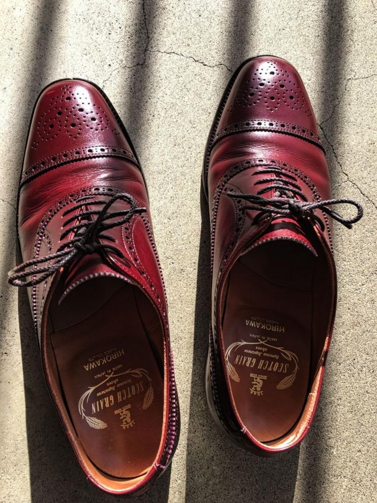 磨いた後のスコッチグレインの靴2