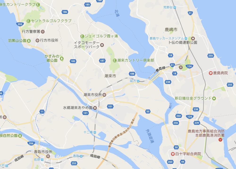 googlemapの鹿嶋市