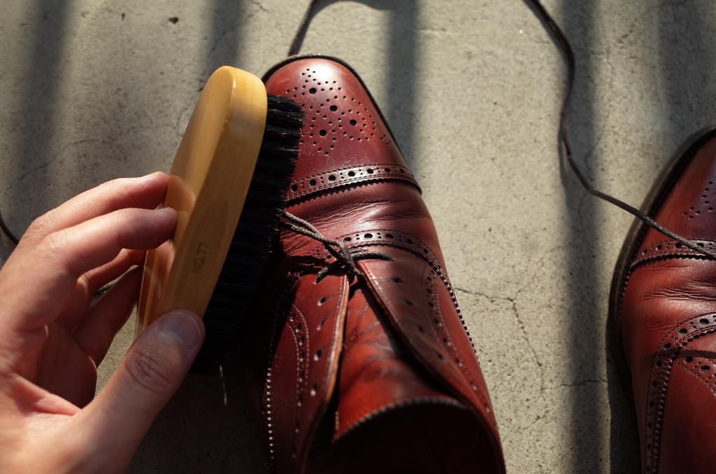靴にブラシを掛ける
