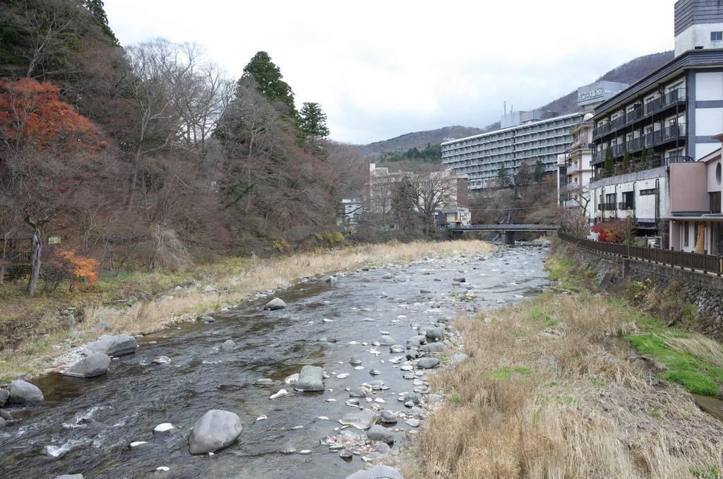 紅の吊橋から箒川下流を望む