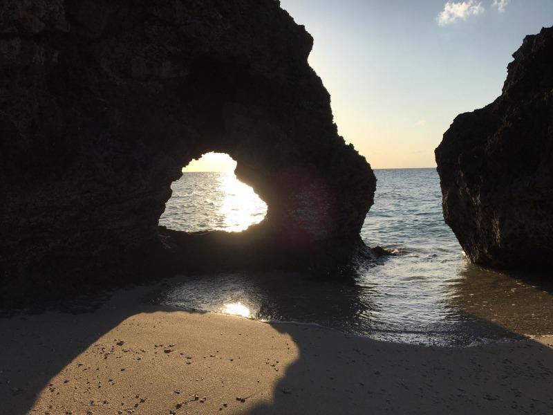 heart rock  sunset