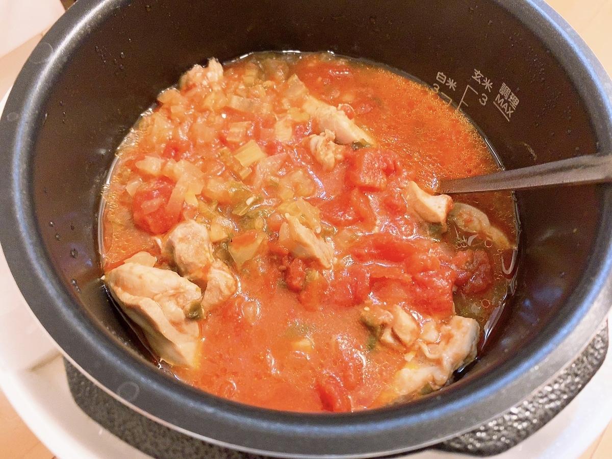 鶏肉のトマト煮込み 加圧後 画像