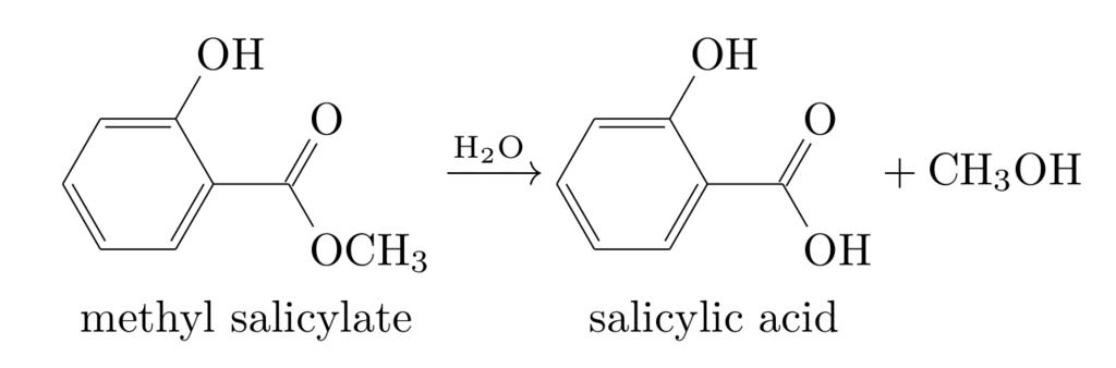 サリチル酸メチルの加水分解反応