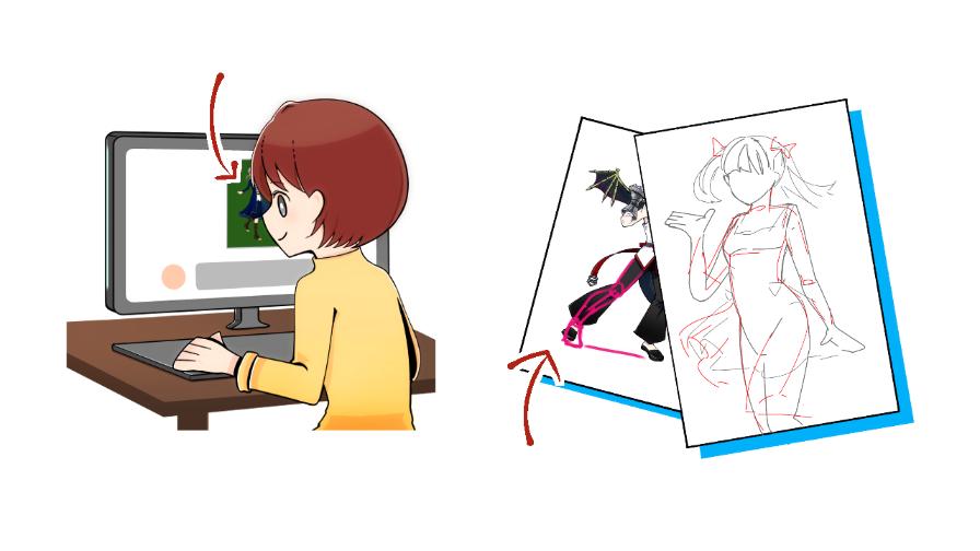 チャットをしている女性のイラスト