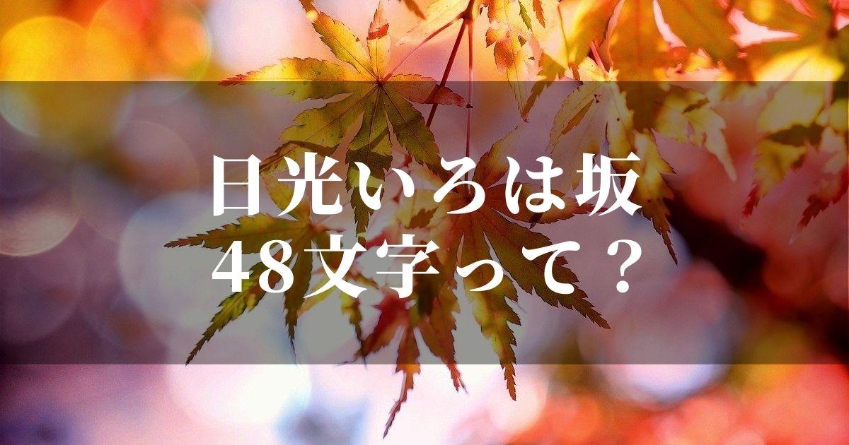 日光いろは坂の『48文字』ってどんな意味?!カーブに立つ看板に書いてあるアレ