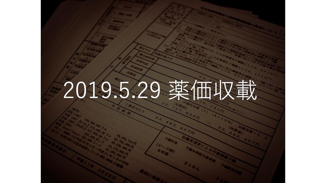 2019.5.29薬価収載