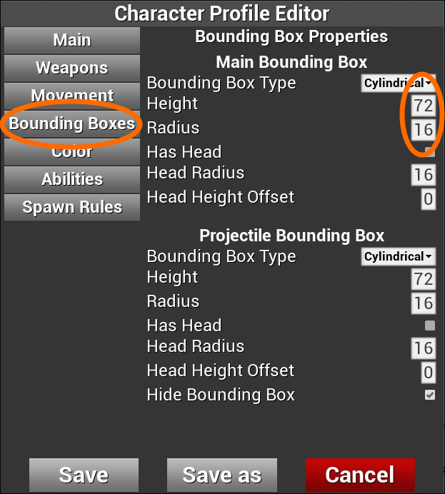 「Bounding Boxes」設定画面