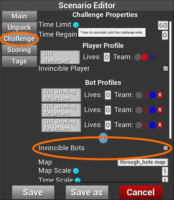 「Scenario Editor」の「Invincible Bots」設定
