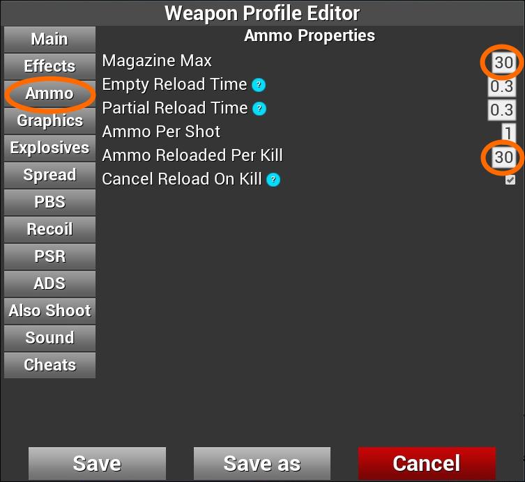 「Ammo」設定画面