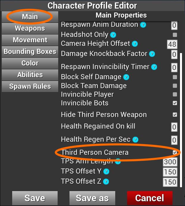 「Third Person Camera」設定