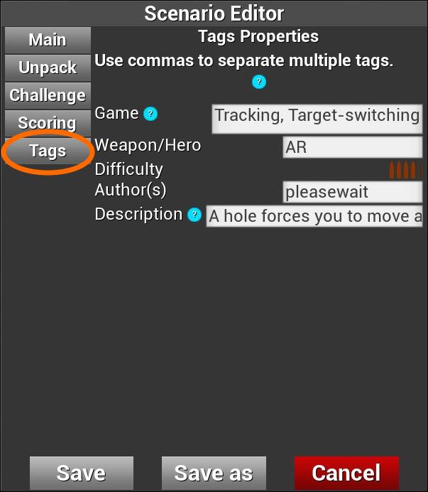 「Tags」設定画面