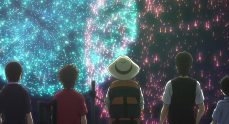 打ち上げ花火を見上げる典道と友人達