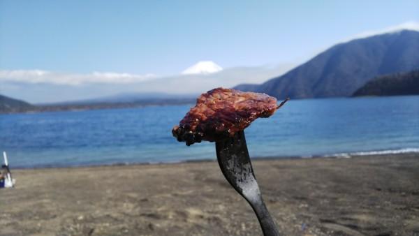 富士山とステーキ
