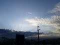 雲からさす光?が珍しい風景だった