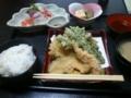 今日の昼は刺身と天ぷら