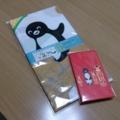 Suicaペンギンの北海道柄手ぬぐいとこけし柄ポチ袋