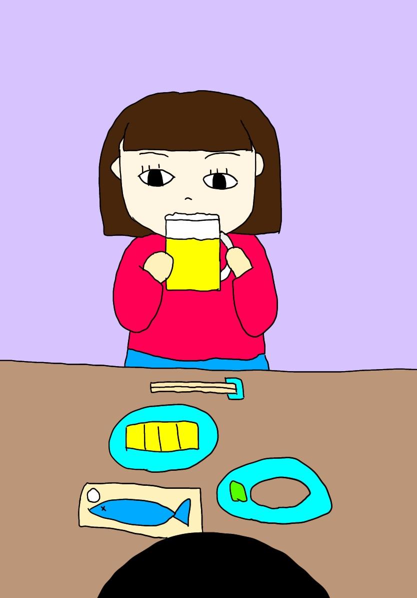 麦ソーダをチビチビ飲むポジ子