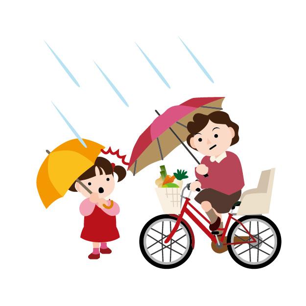 雨の日の傘さし自転車