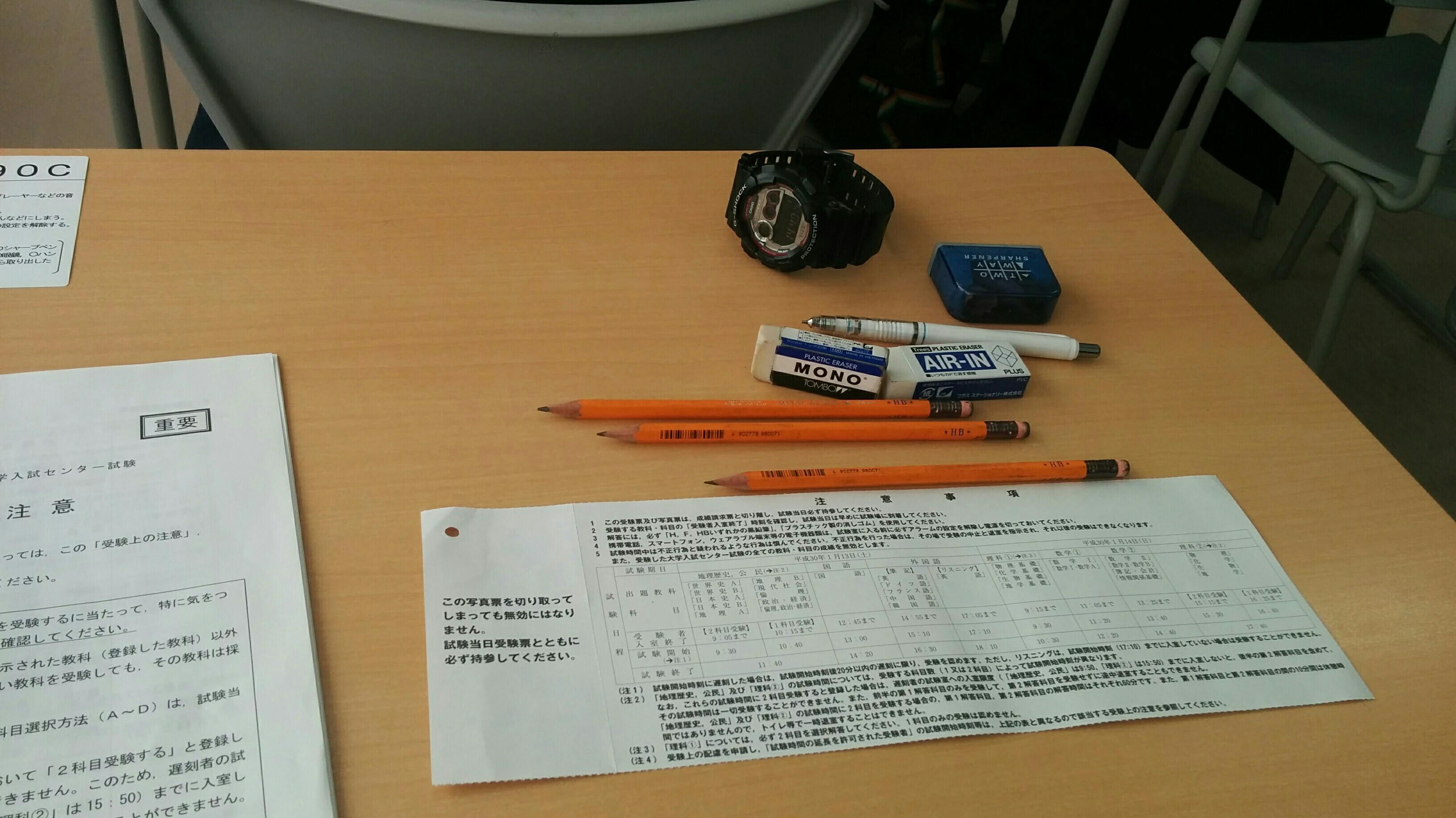 受験票と鉛筆と腕時計など
