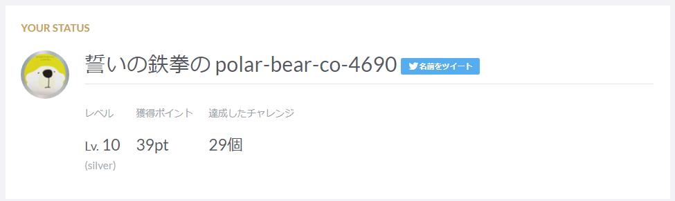 誓いの鉄拳のpolar-bear-co-4690 Lv.10-39pt-29個(silver)