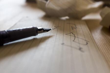 万年筆とメモ紙