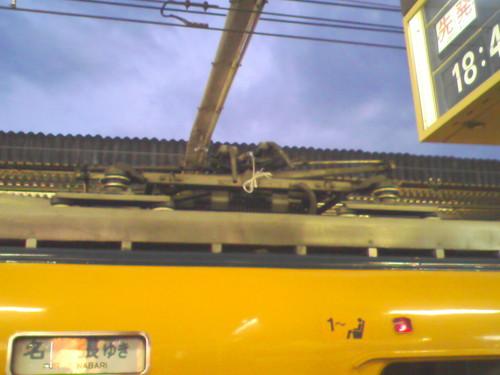 大和八木 パンタ破損->結束して応急措置 12038号車 2008/7/3 19:25