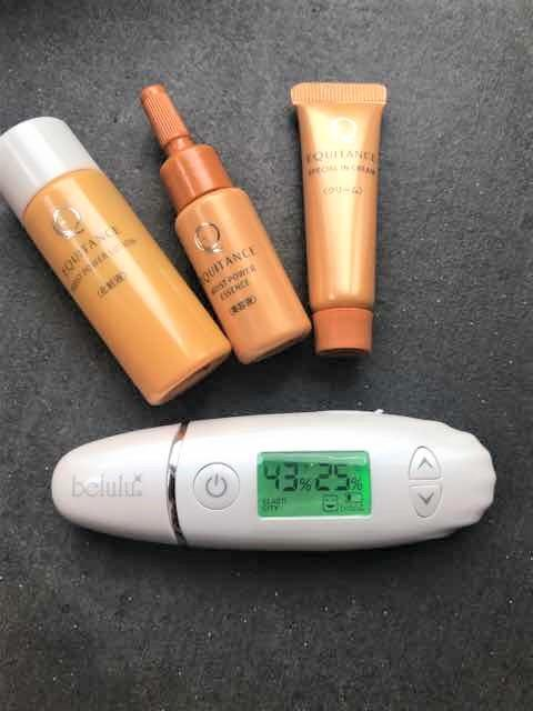 エクイタンス使用5時間後のお肌の水分量43%、油分量25%